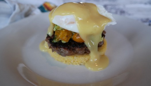 POLENTA, SAUSAGE, ROASTED TOMATO & AVOCADO EGGS BENEDICT